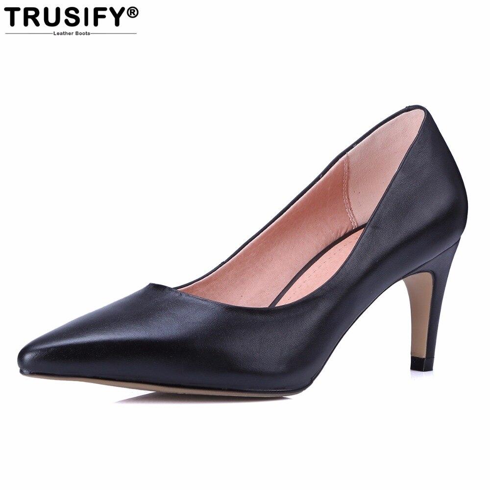 Trusify 2018 ohdiet из коровьей кожи женские модельные туфли пикантные туфли с острым носком 7 см туфли-лодочки на высоком каблуке женские ...