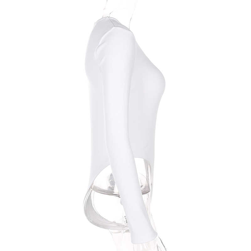 Weekeep Babe печати боди с длинным рукавом Осенне-зимняя Дамская обувь пикантные облегающие костюмы 2018 Для женщин s с О-образным вырезом Одна деталь Женское боди