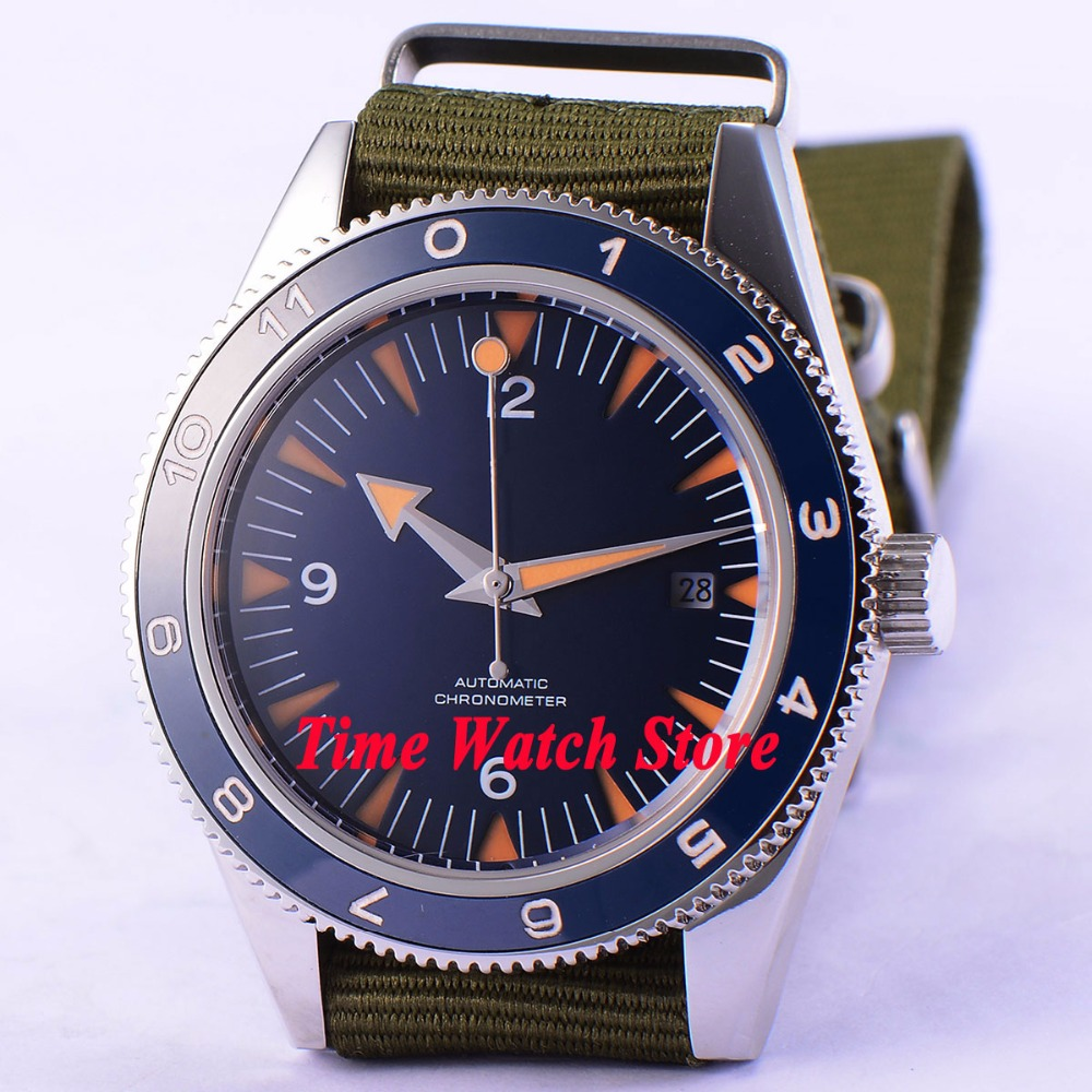 41mm Blue sterial dial super luminous orange marks Sapphire Glass nylon strap MIYOTA 821A Automatic mens watch DE8641mm Blue sterial dial super luminous orange marks Sapphire Glass nylon strap MIYOTA 821A Automatic mens watch DE86