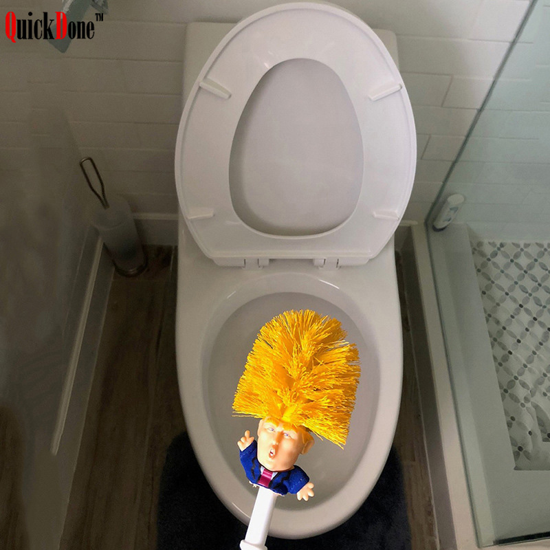 QuickDone Donald Trump Toilet Brush Bathroom Cleaning Tools Original Funny Trump Home Hotel Supplies Cleaning Accessory AKC6303