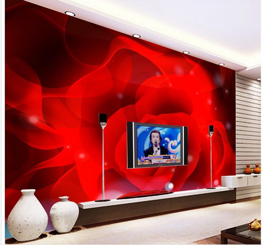 €10.37 62% de réduction|3d chambre papier peint rouge rose pétales TV fond  mur décoration peinture décoration maison papier peint 3d fleur-in Papiers  ...