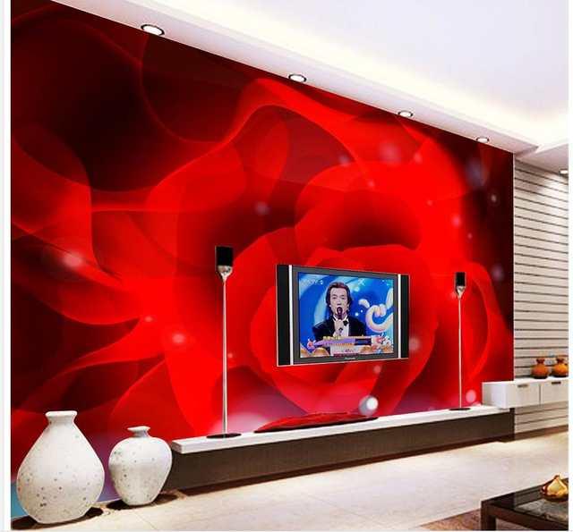 Online Shop 3d Wallpaper Rosso Petali Di Rosa Sfondo Tv Decorazione
