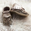 Gold Leather Sequin Baby Moccasins Handmade Infant Shoe