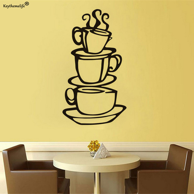 Keythemelife Creative Coffee Cups Wall Decal Removable Vinyl Wall ...