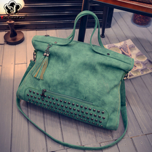 Fashion Rivet Women Handbags High Quality Nubuck Leather Ladies Hand Bags Large Shoulder Bag Luxury Handbags Women Bags Designer la maxza gifts for valentine s day leather fashion women handbags split leather shoulder bag large designer ladies shoulder bags