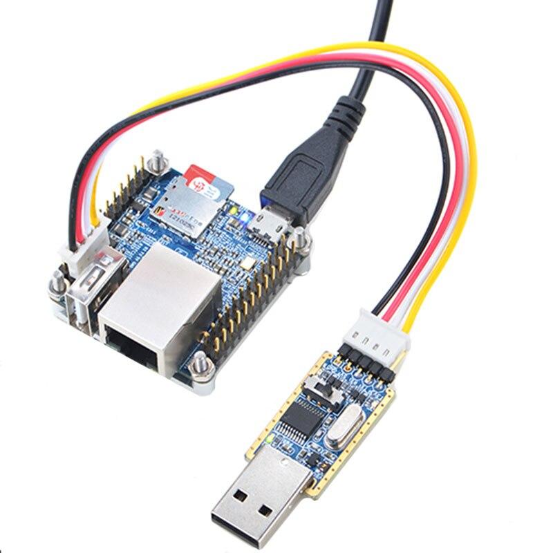 NanoPi NEO Kit dissipateur de chaleur + USB à TTL Module série + Allwinner H3 carte de développement + carte MicroSD 8G + ligne USB NP016