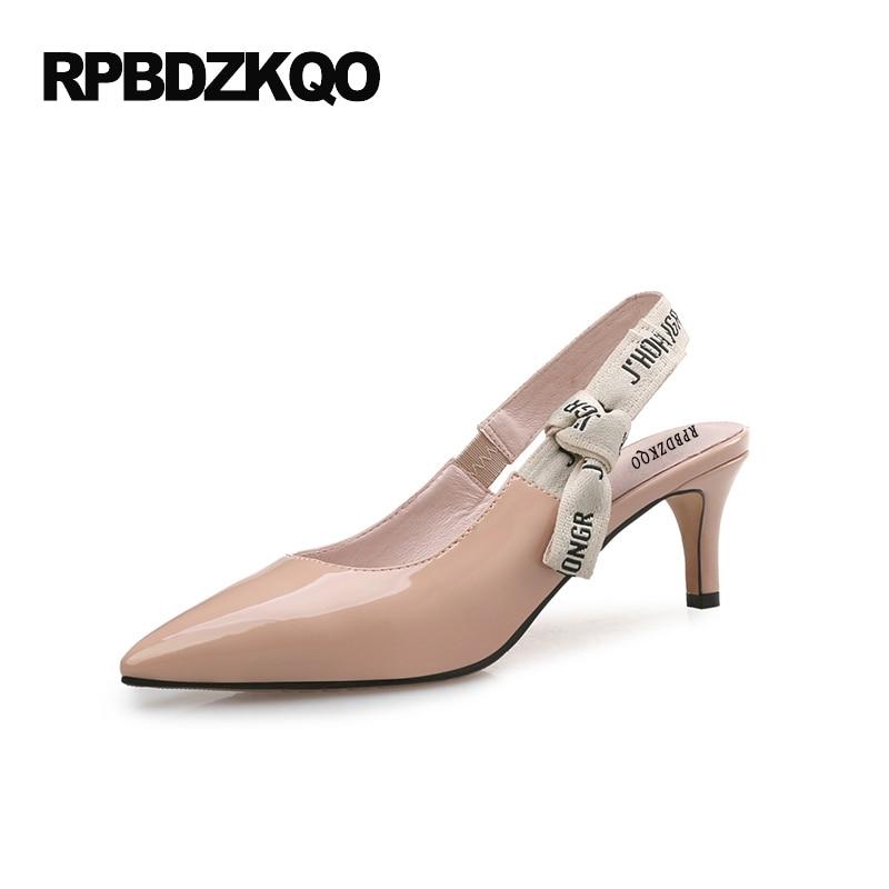купить Size 4 34 10 42 Scarpin 33 High Heels Strap 12 44 Big Designer Patent Leather Pointed Toe Sandals Nude Slingback Medium Famous недорого