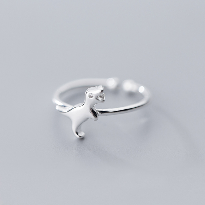 MloveAcc 100% 925 Solid Real Sterling Silver Women Lady Jewelry Dinosaur Charm Ring Opening Size Gift Girls Lady