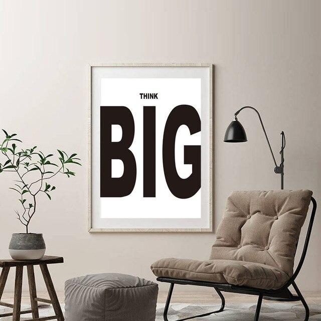 Moderne Zwart Wit Motivatie Denk Groot Quotes Kunst Poster Muur Foto ...