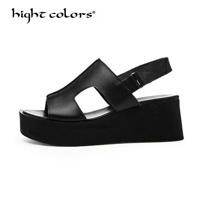 Genuine Leather Shoes Women Sandals Summer Platform Sandals BLACK WHITE Wedges Gladiator Sandals High Heel Ladies Shoes genuine leather women sandals rural sweet style women shoes butterfly beading crystal wedges shoes high heel sandals dress shoes
