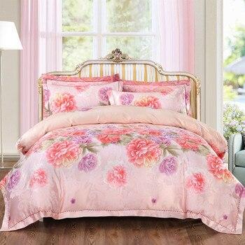 YeeKin 100% Cotton Satin Jacquard Floral Girls Bedding King Queen Jacquard Satin Flowers Sea Princess Wedding Duvet Cover Queen