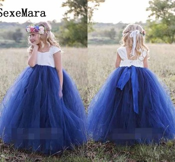 Princess White Navy Blue Flower Girls Dresses Bateau Neck Puffy Organza Ball Gown Girls Pageant Gown Birthday Party Dress
