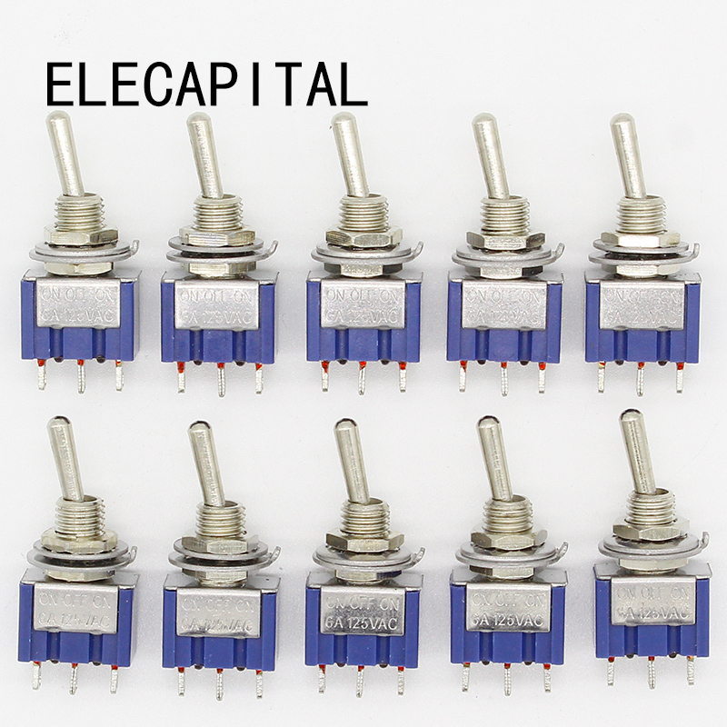 10Pcs ON-OFF-ON 3 Pin 3 Position Mini Latching Toggle Switch AC 125V/6A 250V/3A new mini 5pcs lot 2 pin snap in on off position snap boat button switch 12v 110v 250v t1405 p0 5