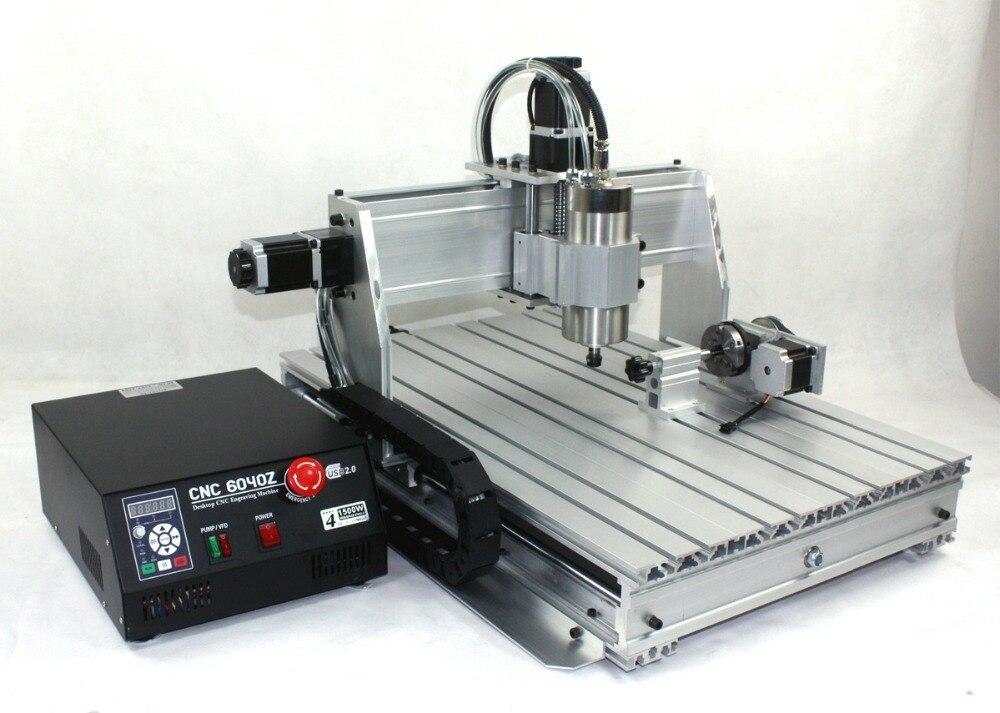 2020 sprzedaż 4 osi CNC ploter tokarka do drewna 6040 CNC 1500W CNC Router grawer grawerowanie wiertarko-frezarka 220 V/AC