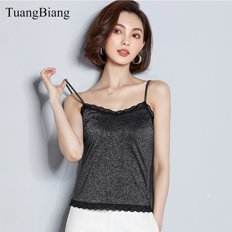 Women Crop   Tops   glitter V-Neck Ladies Lace Cropped Backless Camis Slim Ruffles Female Blusa Sexy Summer Short splice   Tank     Tops