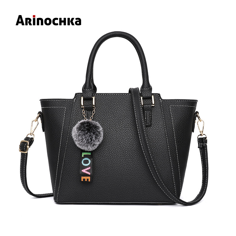 Luxury famous designer Women leather Handbag Female All-Purpose Hairball Shoulder Bag Lady Causal tote business wristlet Bag