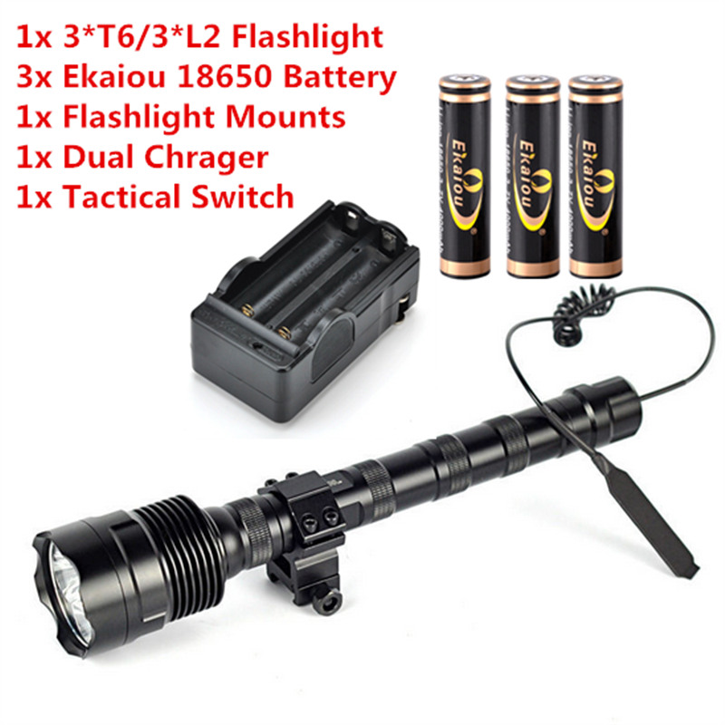 купить TrustFire TR-3T6 /TR-3L2 Flashlight 5 Modes Memory White Flashlight+3x 18650 Battery+Charger+1x Mounts+Tactical Switch недорого