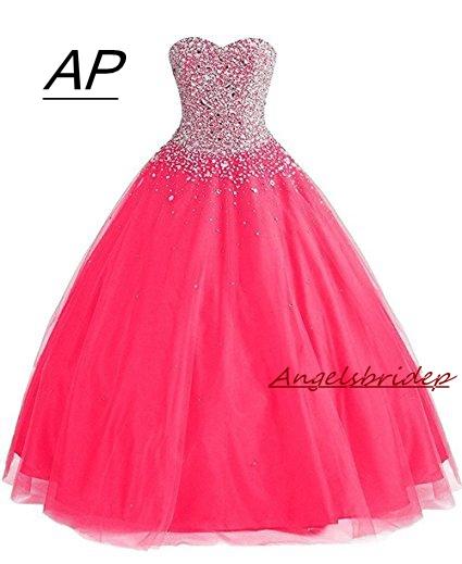 ANGELSBRIDEP Ball Gown Quinceanera Dresses 2019 With Rhinestones 15 Party Quinceanera Gowns Sparkly Beading Debutante Gowns
