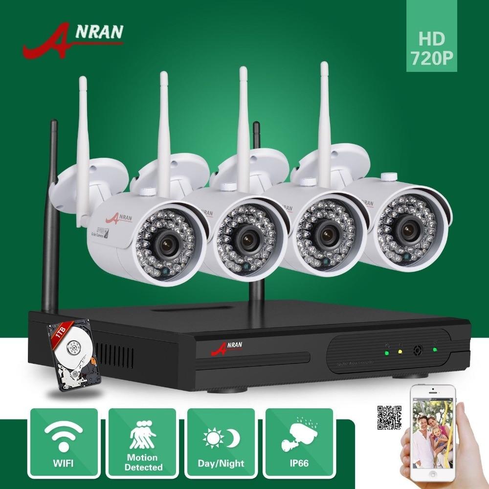 imágenes para Anran hdmi wifi nvr 1 tb hdd 4ch p2p 1.0mp 720 p al aire libre a prueba de agua IR cámara de Red IP Sistema de Seguridad CCTV Cámara de Vídeo