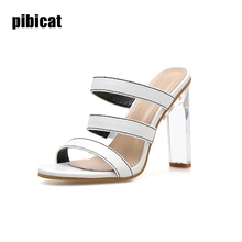 rome Slippers high heels sandals Women's shoes  summer white 2019 slides rome Gladiator Leather Sandals slip on shoes for Women rhinestone high heel sandals plus size 40 41 summer blue flower sexy leather diamond slippers female rome slides shoes women