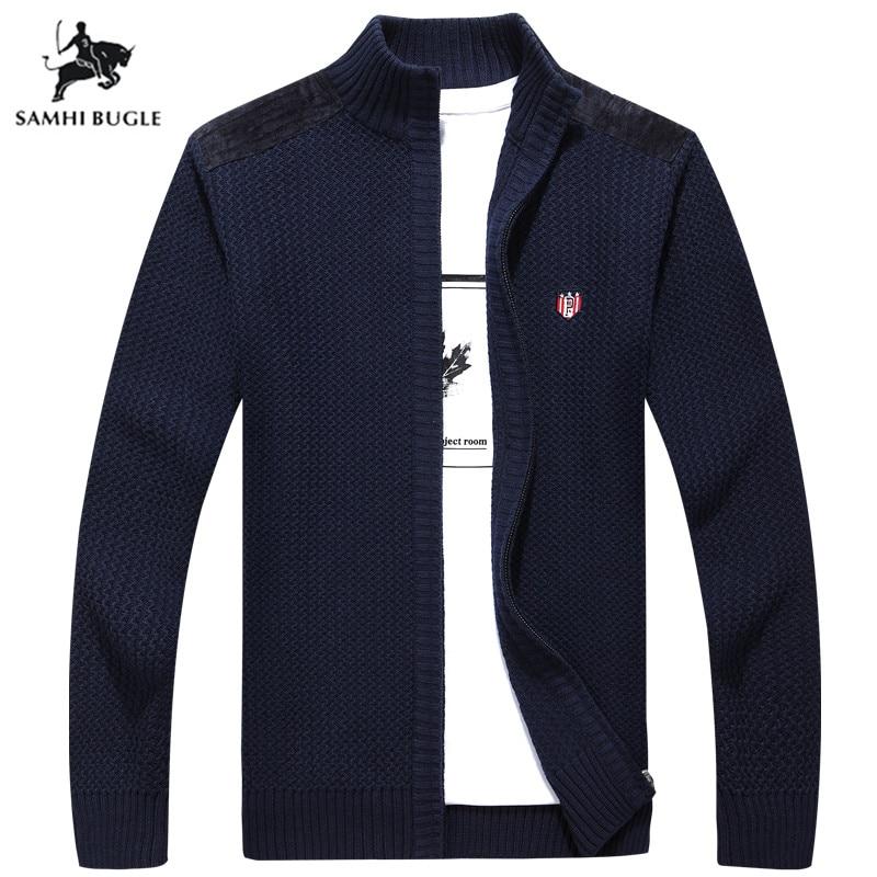 Men's Clothing 2019 Autumn Winter Brand Sweater Men 100% Cotton Pure Color Zipper Cardigan Sweater Men Turtleneck Sweater