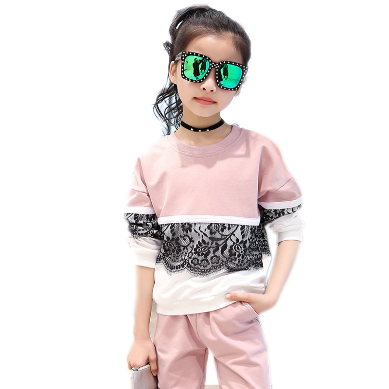 kids tracksuits 2017 new autumn children clothing top lace patchwork hoodies&sweatshirt+sports pants 2pcs girls sportwear 4-13T женские толстовки и кофты sweatshirt 2015 2 sportwear