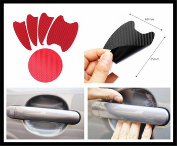 Car shape 3D carbon fiber door handle wrist anti-scratch sticker for Honda City OSM FC Small PUYO Element Step REMIX CRV image
