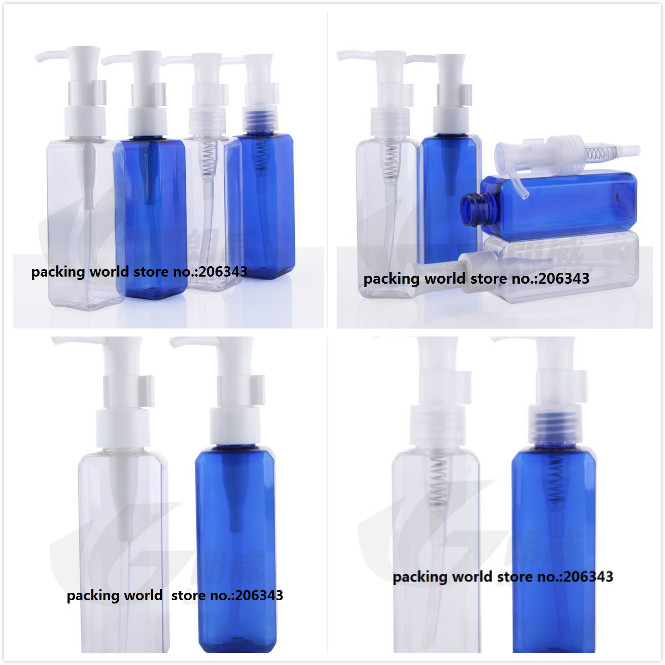 100ml TRANSPARENT/BLUE SQUARE PET BOTTLE with press pump for lotion/emulsion/serum/removal oil/body lotion skin care packing