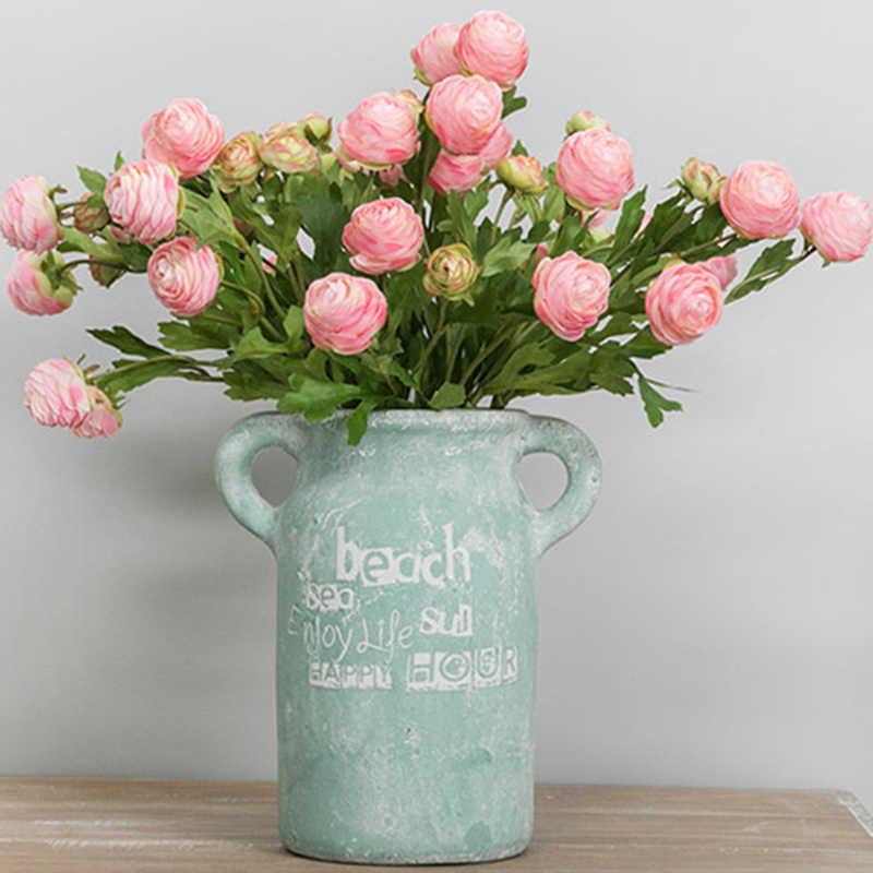 3 Kepala Buatan Sutra Bunga Bouquet Kecil Lotus Eropa untuk DIY Bunga Palsu Pernikahan Rumah Tinggal Kantor Dekorasi Kamar
