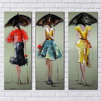 Modern Handpainted Abstract City Woman Oil Paintings On Canvas Modern Girl Figure Wall Art Pictures For Living Room Home Decor