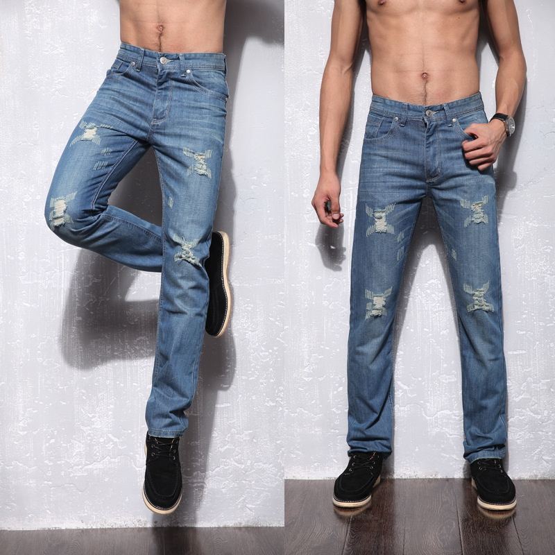 Ripped jeans for men high quality light blue color jeans men size 40 38 brand design denim biker jeans mens Straight pants all seasons famous brand jeans men straight denim classic blue jeans pants regular fit high quality plus size 28 to 40 sulee