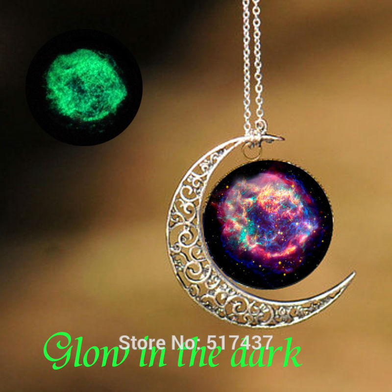 Glow Necklace Cassiopeia Nebula Pendant Glass Art Picture Necklace Glow in The Dark Jewelry