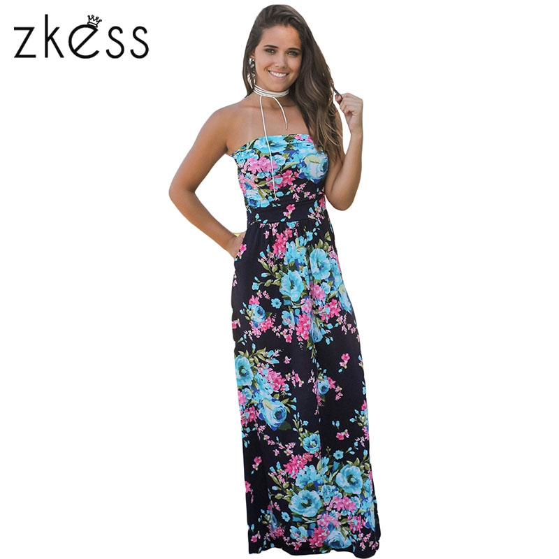 Zkess 5colors Off Shoulder Maxi Dress With Pockets Women Summer Printed Boho Style Holiday Beach Long