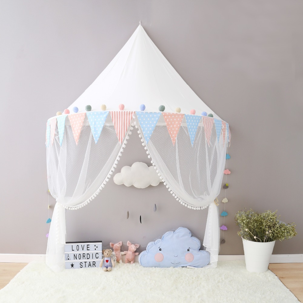 2017 Boys Girls Canopy Tent with Hanging Mosquito Net Portable Crib Tent Bed Curtain Kids Room Decoration Children's Day Gifts baby bed curtain kamimi children room decoration crib netting baby tent cotton hung dome baby mosquito net photography props