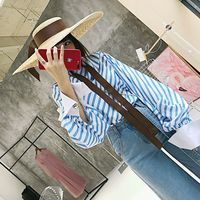 2017 Summer Wear New Product European Blue White Bump Stripe Twill Lantern Sleeve Easy Thin Shirt