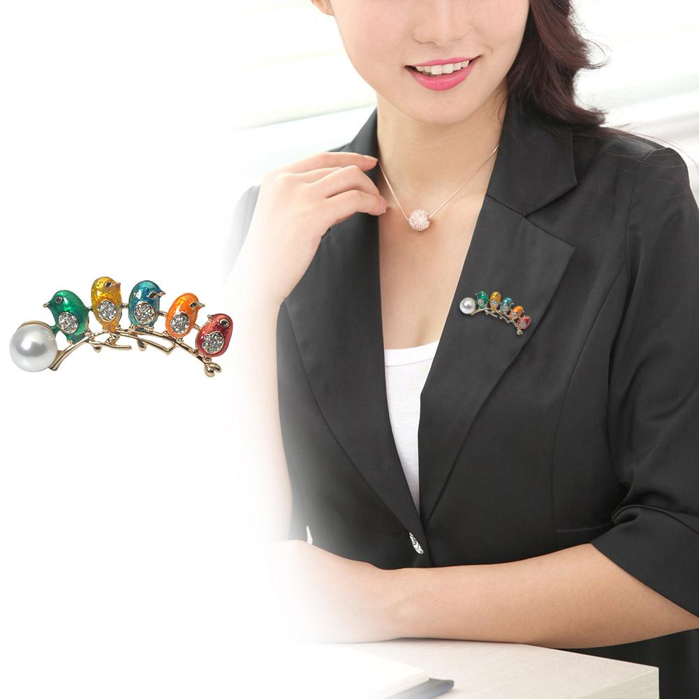 New Exquisite Women Brooch Pin Lucky Birds Fake Pearl Rhinestone Jewelry Wedding Gift
