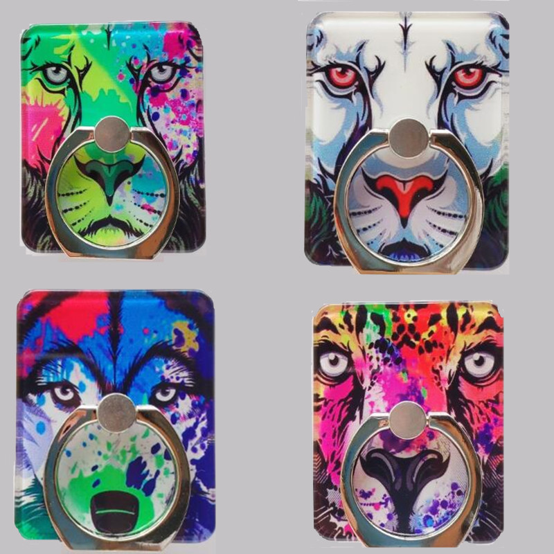 360 Degree Wolf Totem Lion Tiger Pattern Finger Ring Smart Phone Stand Holder Mobile Phone Holder Stand For IPhone All Phone