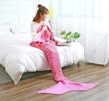 CAMMITEVER Mermaid Tail Blanket Crochet Mermaid Blanket for Adult, Super Soft All Seasons Sofa Sleeping Blanket, Birthday Gifts hollow out color block crochet knitting mermaid blanket for kid