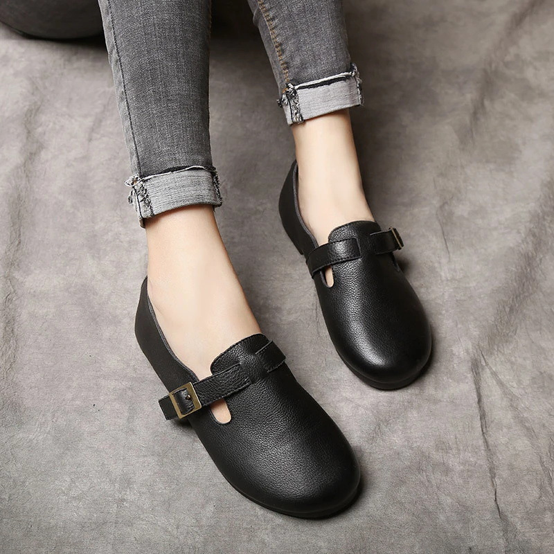 Genuin Leather Women Flats Soft Bottom Black Casual Leather Shoes for Women Slip on Lazy Shoe Handmade Women Loafers Ballet Flat 2018 new fashion loafers black red women handmade shoes woman genuine leather soft casual flat shoes for women ballet flats
