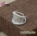 # New classic Retro Style High Quality 925 sterling  Silver Pull wire Ring Fashion Opening men of women Big number ring