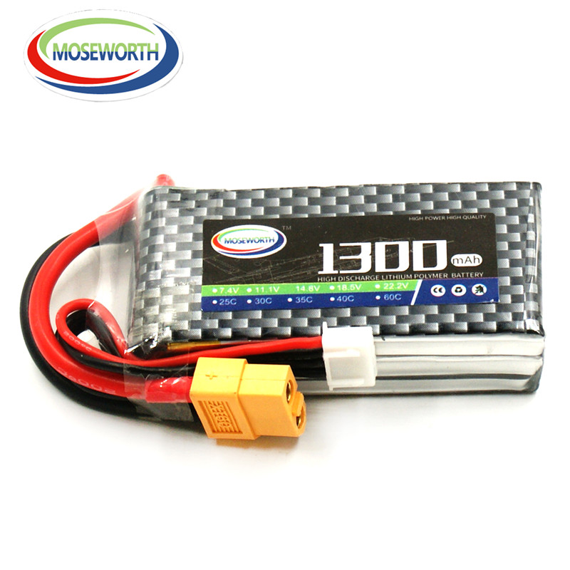 2PCS MOSEWORTH Rechargeable 3S RC lipo battery 11.1V 1300mAh 35C For RC Airplane Drone toys Li-iON cell Free shipping 1s 2s 3s 4s 5s 6s 7s 8s lipo battery balance connector for rc model battery esc