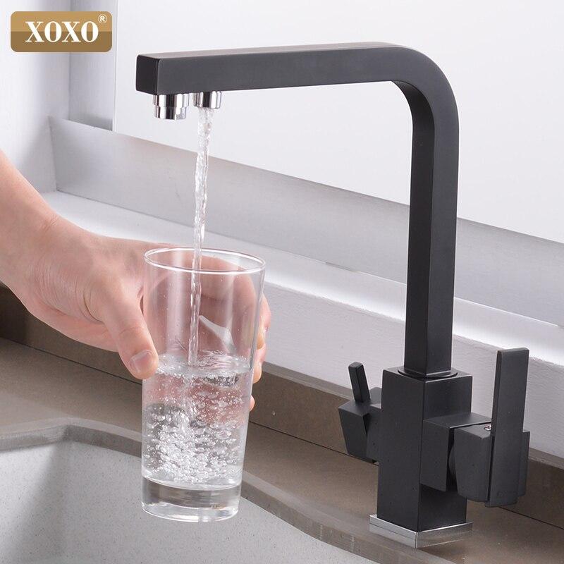 XOXO Cozinha Filtro De Torneira Potável Filtro de Água Fria e Quente Único Furo Cromo Pias de Cozinha Deck Montado Toque Mixer 81048