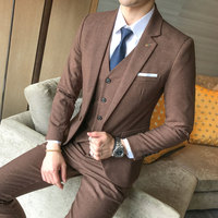 Solid Luxurious Terno Slim Fit Men 3 Piece Suits Wedding Dress For Men Business Casual Suits