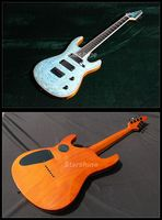 Starshine 7 Strings Guitar YL 7EL Quilted Maple Celluloid Binding Strings Thru Body Electric Guitar Blue