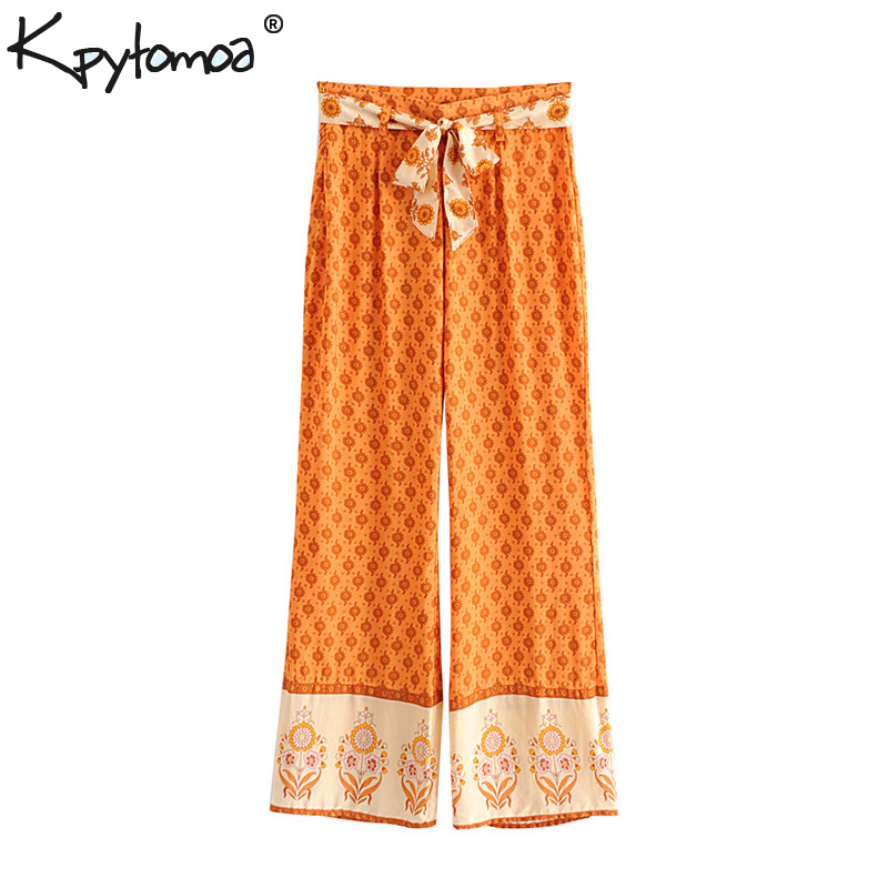 Boho Chic Summer Vintage Floral Print   Wide     Leg     Pants   Women 2019 Fashion Side Zipper Bow Tie Sashes Beach Trousers Pantalon Femme