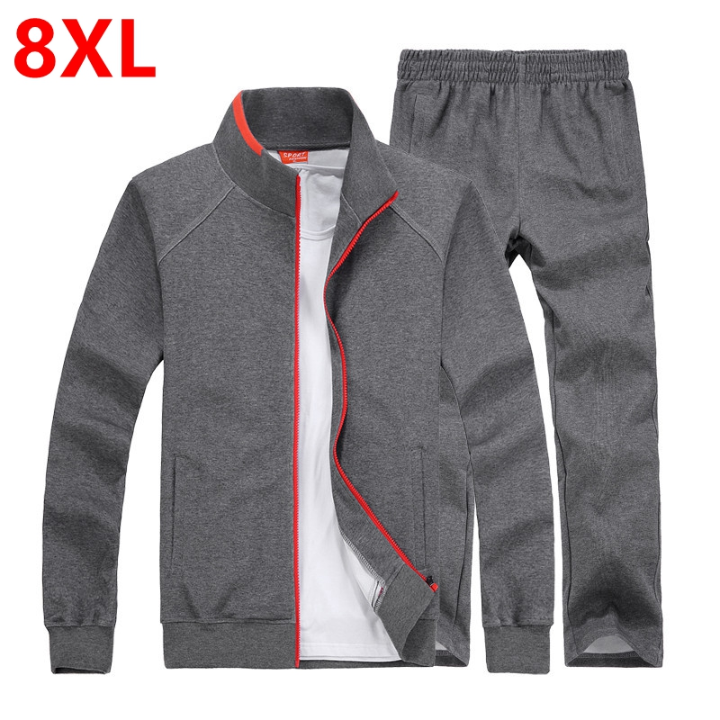 Spring and autumn fat XL lovers plus size cotton jacket trousers sportswear Pangge male tide Jacket