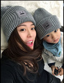 2 PCS Mom Baby Kid Warm Bobble Beanie Cotton Knitted Parent-child Winter Hat Color purple Black Khak Gray smile hats