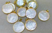 6pcs Cross Mop Shell Jewelry beasd 32mm Jesus Mary pendant Mother of Pearl Shell with Gold Pendant