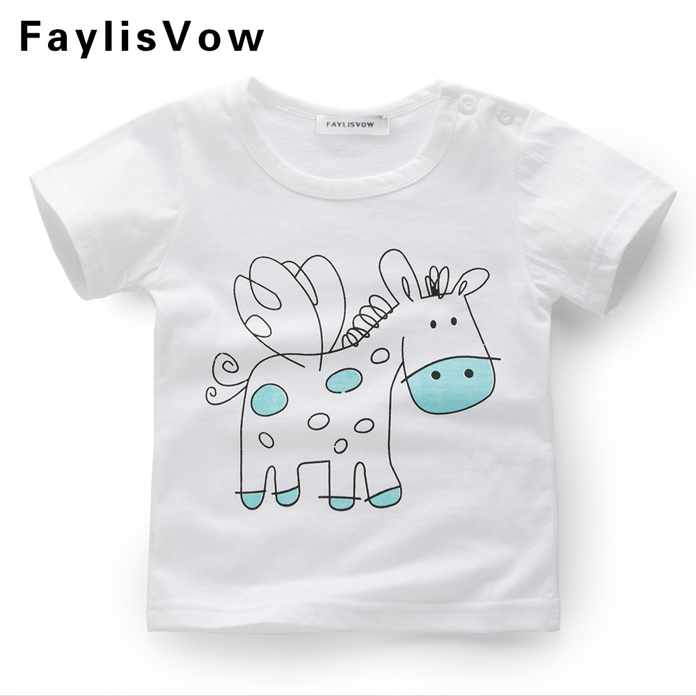 Clearance Boys Cartoon T-shirt Clothing Kids Cotton Clothes Girls Summer Tops Horse Pattern Tees Clothing Roupas Infantis Menino