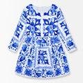Porcelana azul Y Blanca Flor Niñas Vestidos de Invierno 2016 Niño Niños Ropa de Manga Larga Niños Ropa de Marca para Niñas